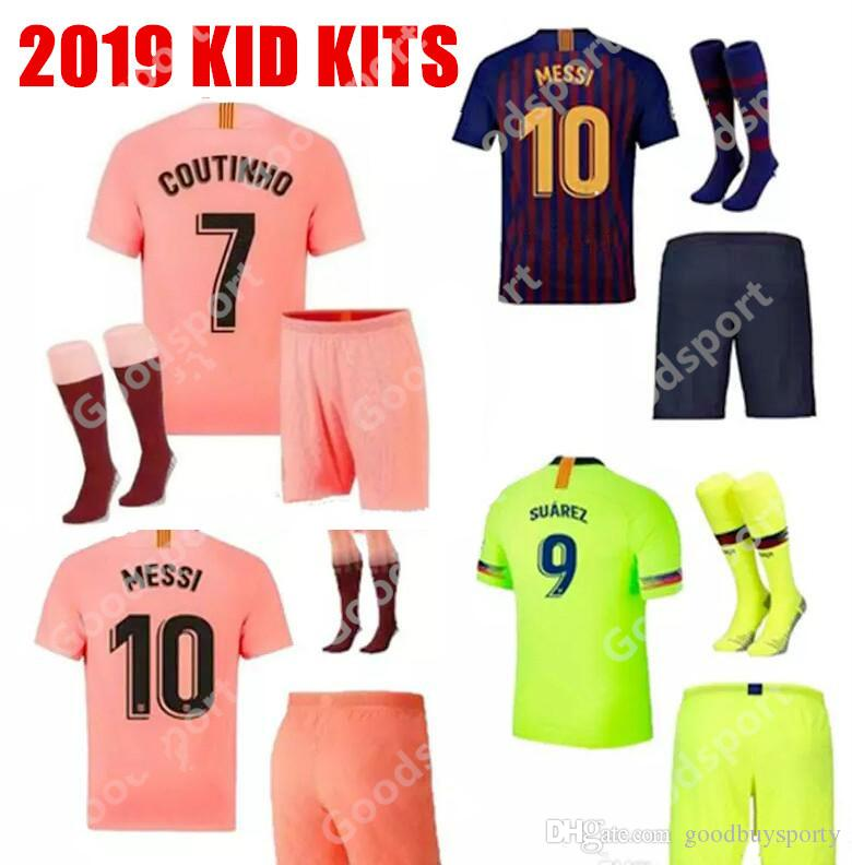 pretty nice 24f58 ccc42 KID KITS 2020 soccer jerseys hot FOOTBALL calcio futbol messi shirts  Children youth socks shorts sport pink PIQUE COUTINHO DEMBELE 19