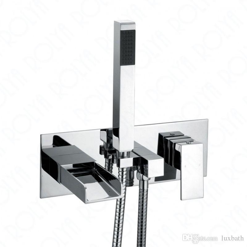 Rolya Cubix Waterfall Wall Mounted Bathtub Faucet Shower Mixer Taps  Chrome/Black Chrome Bathtub Faucet Square Bathtub Faucet Shower Mixer  Waterfall Bathtub ...