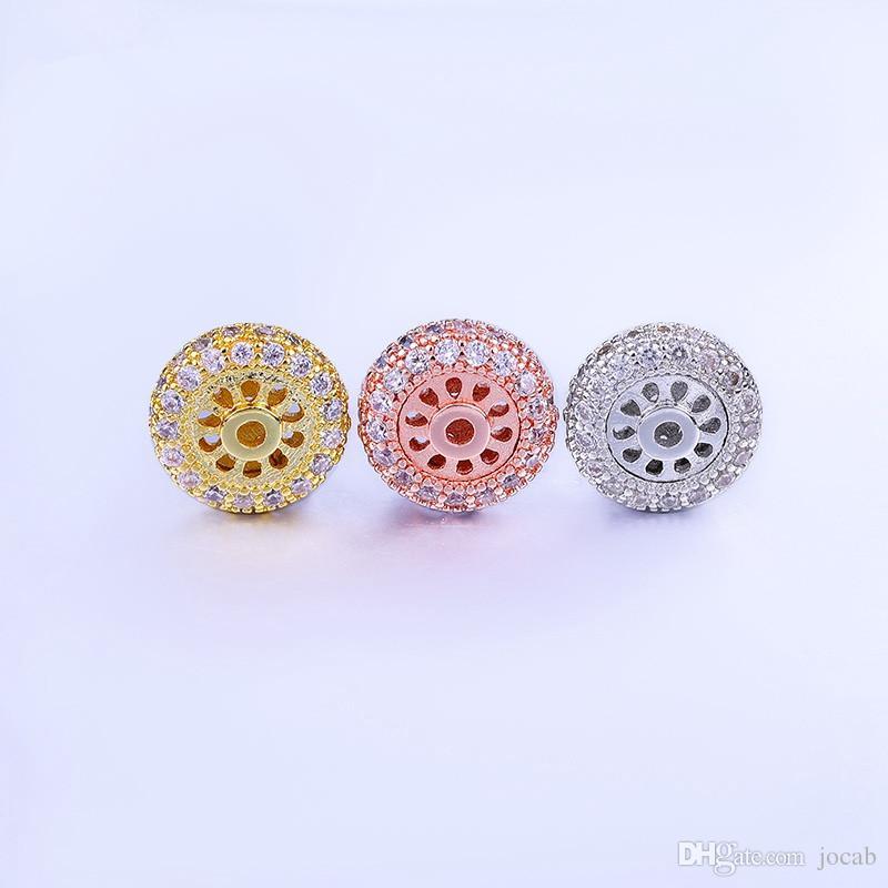 Venta al por mayor de lujo CZ Rhinestone espaciadores perlas para la joyería DIY hecho a mano DIY moda pulseras collares accesorios hallazgos 11 mm