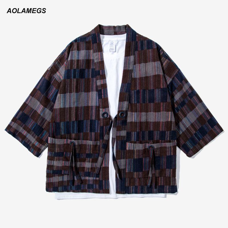Acheter Aolamegs Hommes Kimono Veste Japon Style Mixte Couleur Plaid Kimonos  Chemises De Mode Streetwear Kanye Ouest Harajuku Cardigan Outwear De  47.82  Du ... 863c176647ca