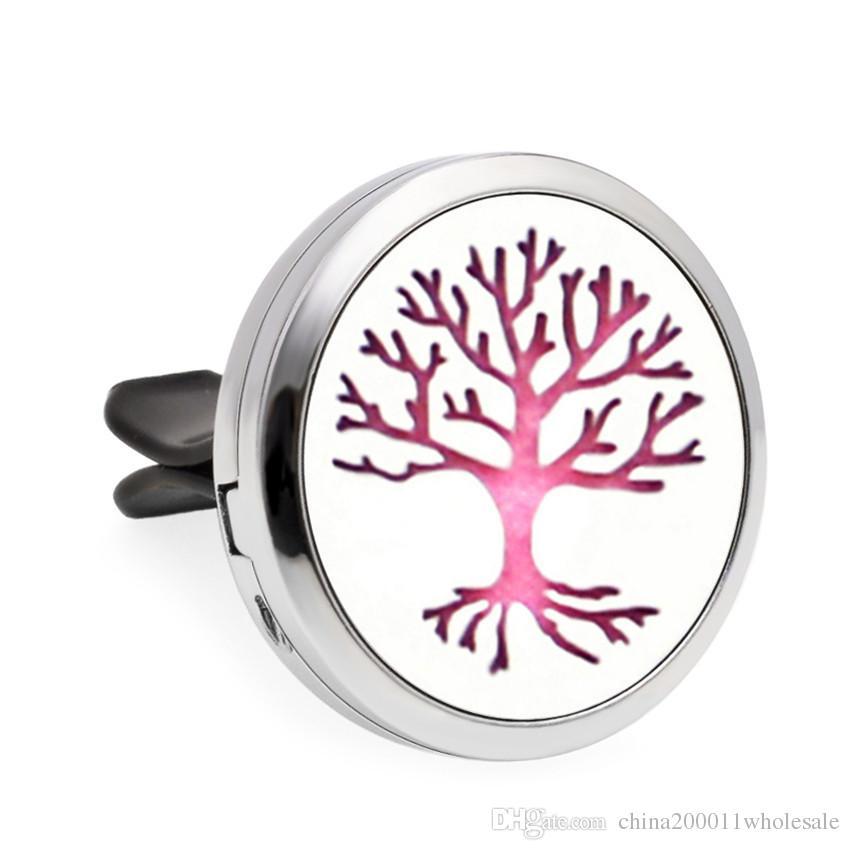 Árvore da Vida Flor Gato Ímã de 30mm Óleo Essencial Aromaterapia Difusor Do Carro Locket Perfume Medalhão de Ventilação Clipe Aleatória Pads Para Livre