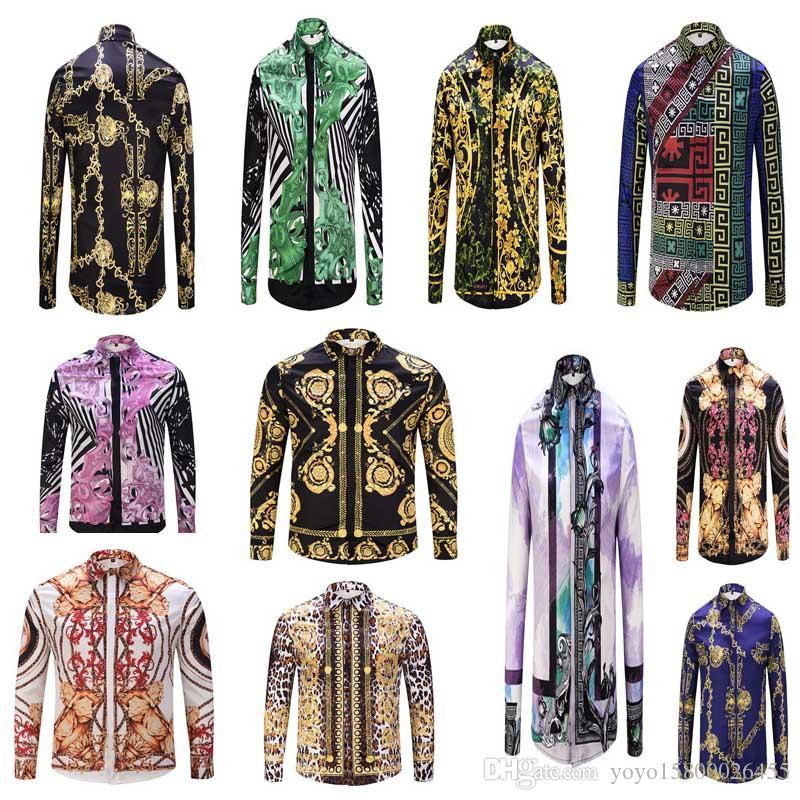 81afd38a2342 2019 new spring and autumn luxury designer men's shirt printed dress Slim  cotton printed lining retro flowers men's long-sleeved shirt Medus