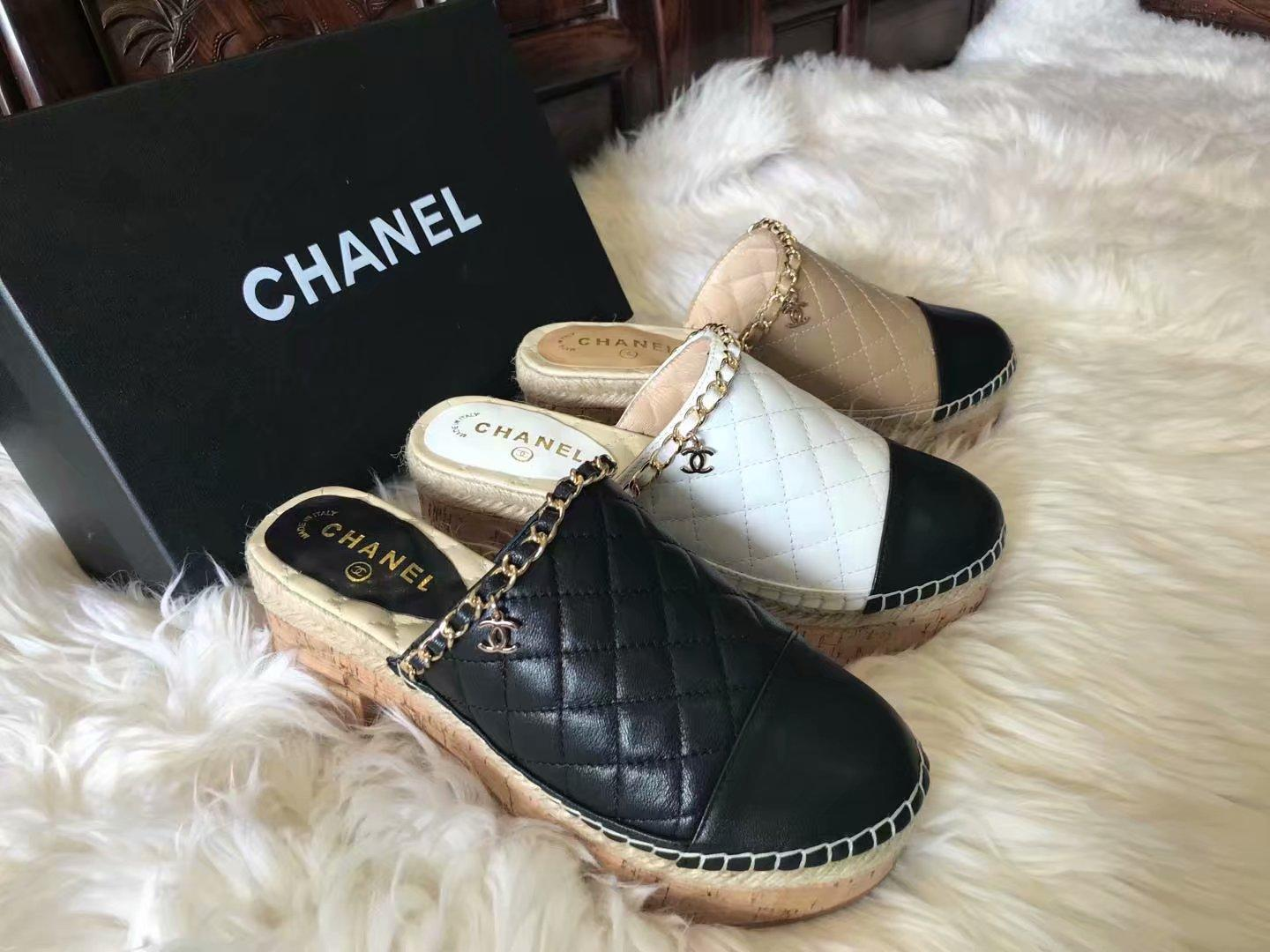 2df013a6c20 Top Quality Luxury Letter Plaid Chain High Heel Shoes Slippers Lambskin  Leather Fashion Woman Espadrilles Thick Heel Shoes 35 41 With Box Boots  Shoes White ...