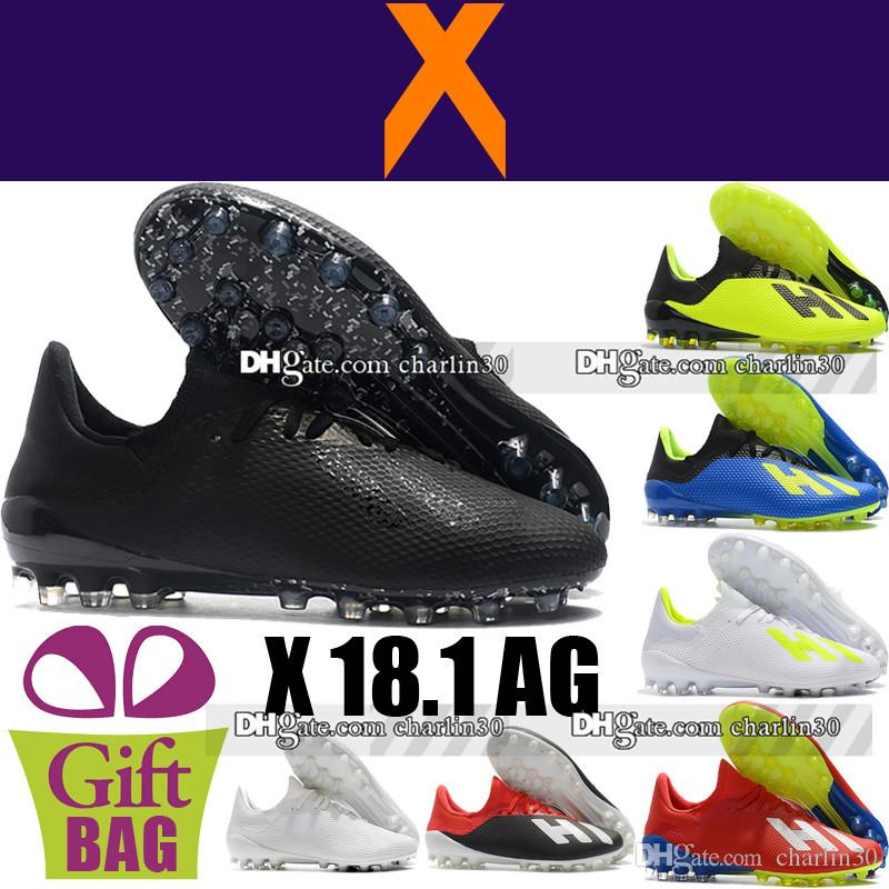 New Top Men Original X 18.1 AG Football Boots BlueYellowBlackRed Leather Outdoor Soccer Shoes Boots Soccer Cleats Cheap Football Shoes