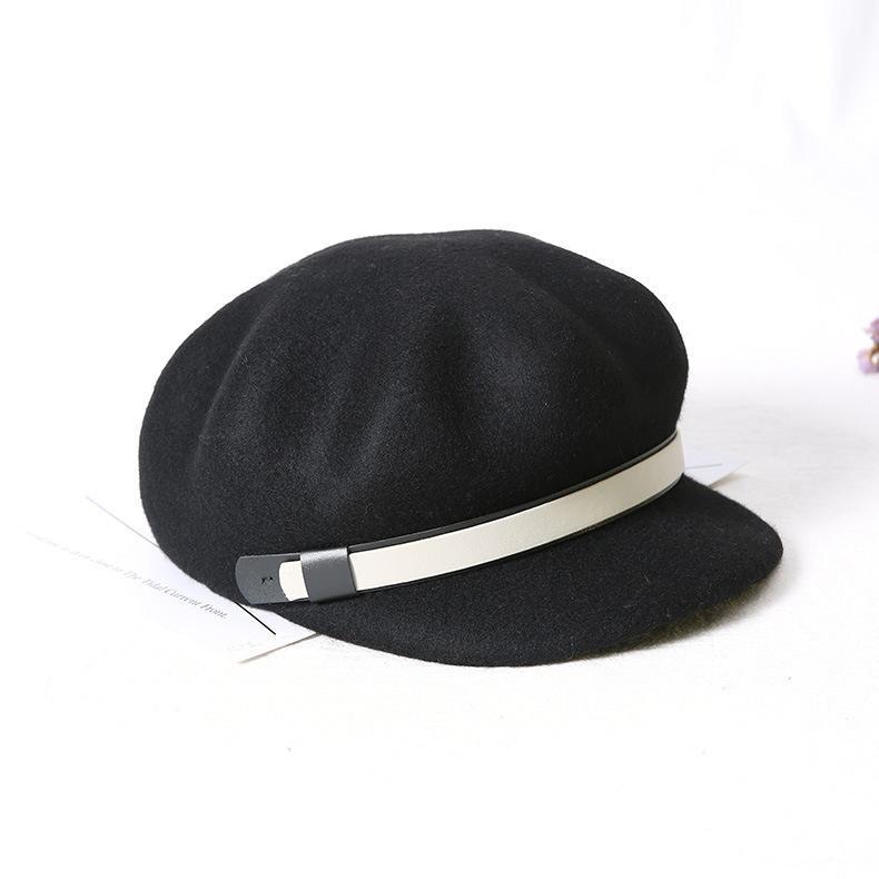 8d040f26a43 2019 100% Australian Wool Russian Popular Women Cap Flat Top Army Navy Caps  Fashion Black Color Visors Student Newspaper Cap From Buete