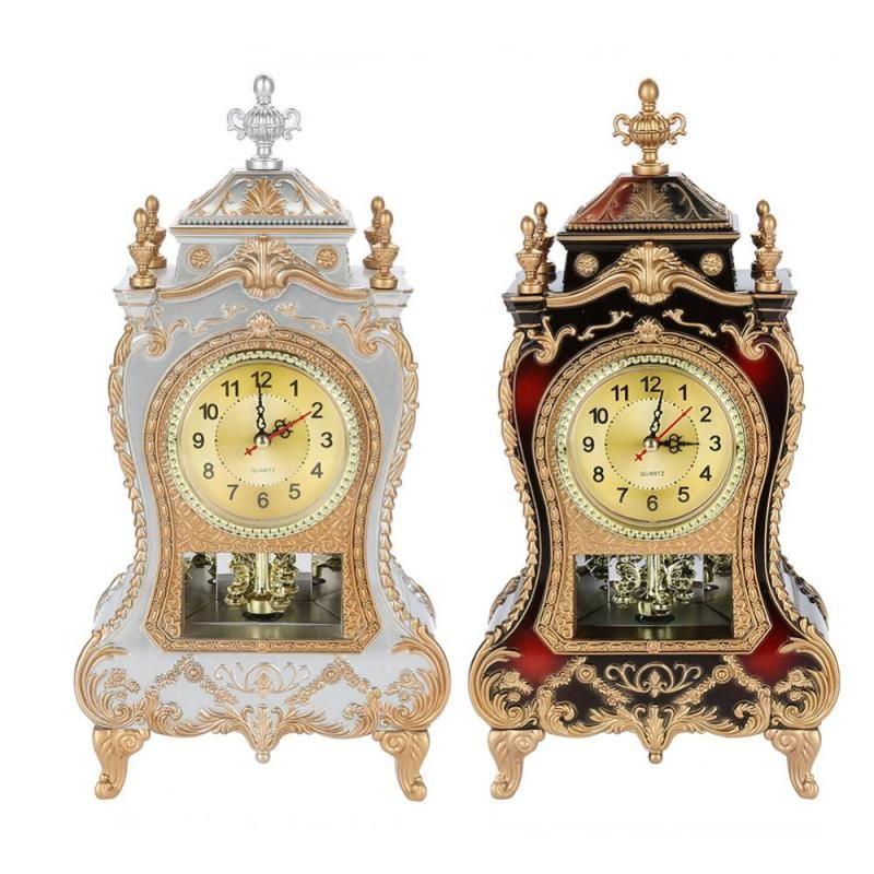 2019 Vintage Style Plastic Table Clock Antique Home Hotel Decorative