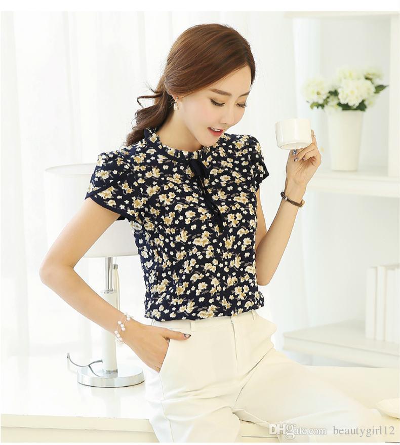 188cd42003110 2019 Summer Floral Print Chiffon Blouse Ruffled Collar Bow Neck Shirt Petal  Short Sleeve Chiffon Tops Plus Size From Beautygirl12