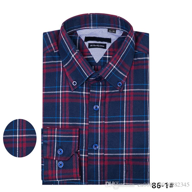Thickened clothes Men's Fashion Plaid Shirt Full sleeve casual shirt men business dress shirt camisa social masculina chemise homme