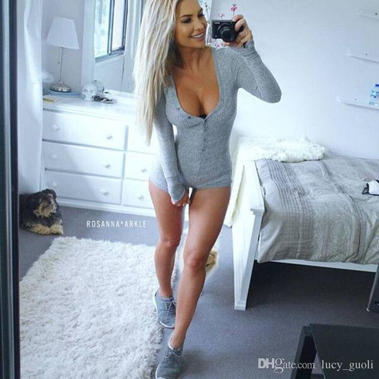Wholesale Hot Sale Preself Sexy Jumpsuit romper Bodycon Bandage Playsuit Women's Knitted Long Sleeve V-Neck Tight Hot dress S-3XL