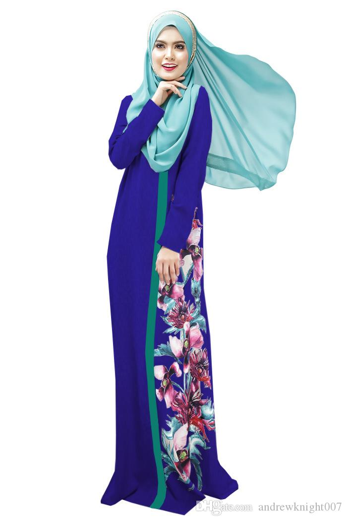 Мусульманских женщин Абая платье О-образным вырезом с длинным рукавом длиной до пола свободные печатных Исламский джилбаб хиджаб кафтан женская этническая одежда DK726MZ