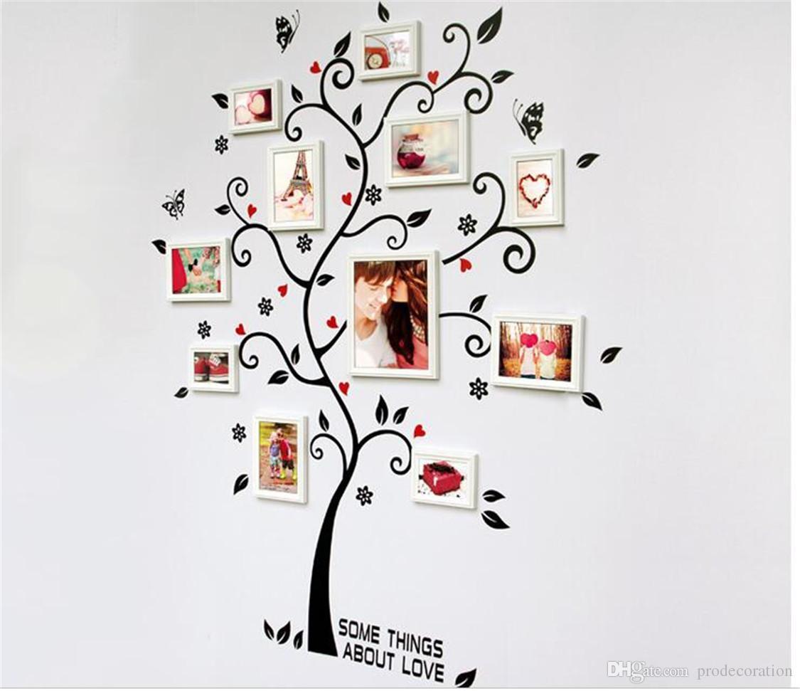 DIY Aile Fotoğraf Çerçevesi Ağacı Duvar Sticker Ev Dekor Oturma Odası Yatak Odası Duvar Çıkartmaları Posteri Ev Dekorasyon Duvar Kağıdı