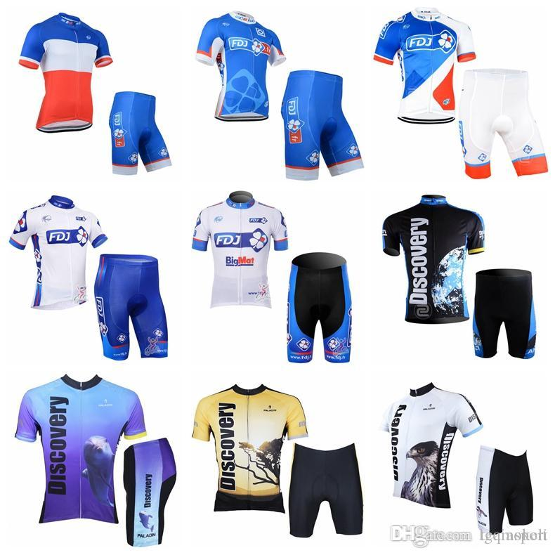 FDJ DISCOVERY Team Cycling Short Sleeves Jersey Shorts Sets Hot Sale New  Summer Breathable Quick Dry MTB Bike Ropa Ciclismo Men 841005 Cycle Shorts  Castelli ... c0a67be75