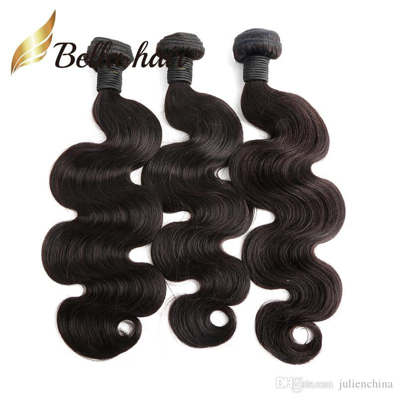 1 피스 브라질 헤어 위브 번들 내츄럴 블랙 컬러 인간의 머리카락 확장 두꺼운 기증자 머리카락 Julienchina BellaHair TO 미국