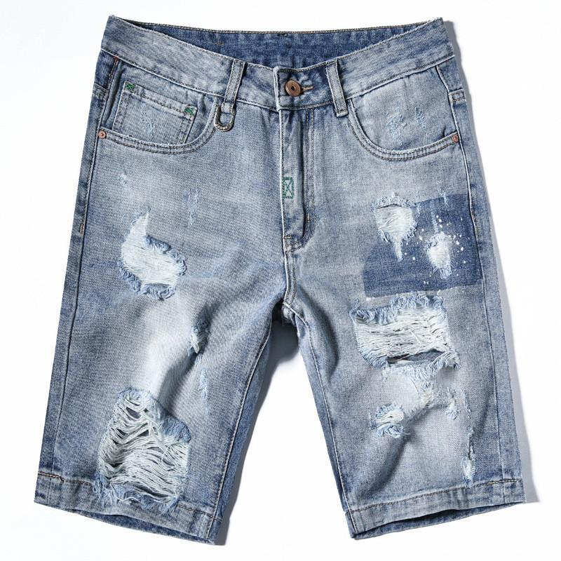 2c942a0e747 2019 MORUANCLE 2018 Summer Mens Ripped Jeans Shorts Washed Distressed Denim  Shorts With Holes Light Blue Slim Fit Size 28 36 From Xiatian8, $38.87 |  DHgate.