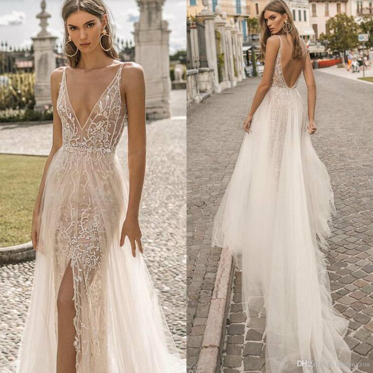 Discount Berta 2019 Beach Wedding Dresses Illusion V Neck Lace
