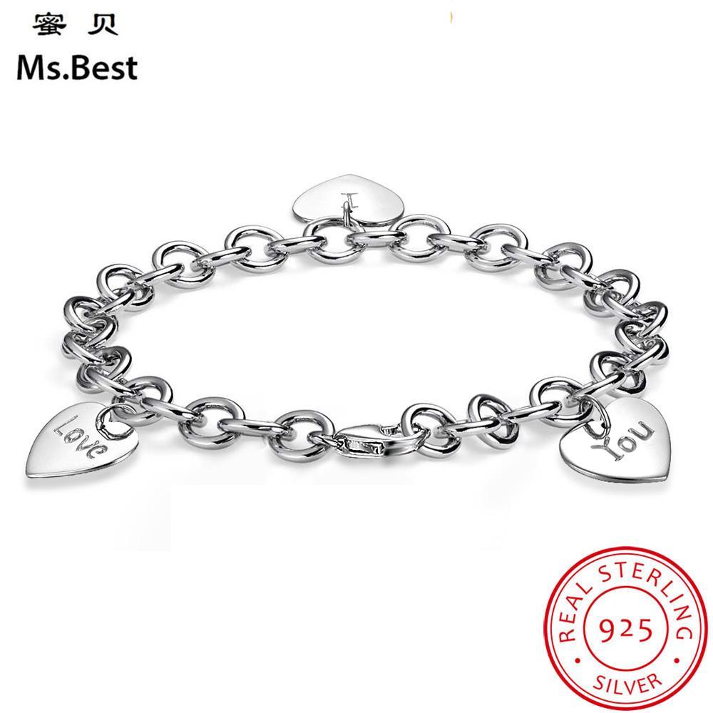 Women/'s 925 Sterling Silver Zircon Love Heart Charm Bracelet Gift I LOVE YOU