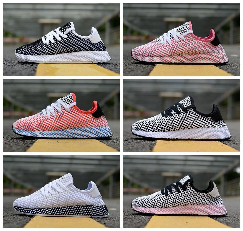 big sale 6fe4d 286bc Compre 2018 Nuevos Originals DEERUPT RUNNER Zapatos Pharrell Williams Stan  Smith Tenis HU Diseñador De Malla Corriendo Rosa Casual Chaussures Sneakers  36 45 ...