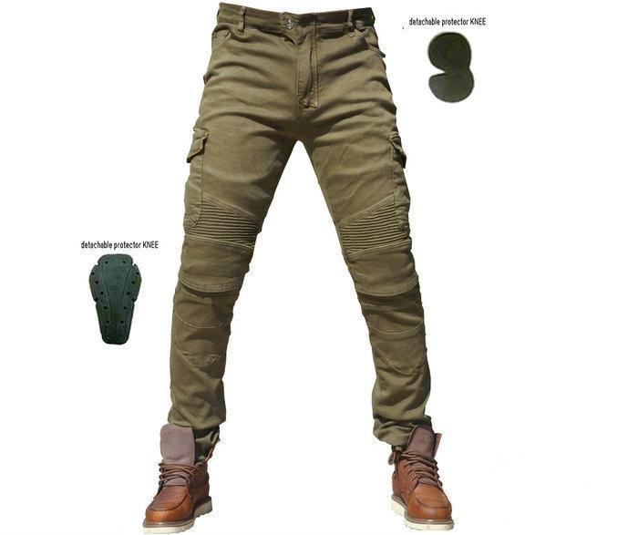 65cd5c8f7d Compre Nuevos Pantalones Vaqueros De La Motocicleta Del Estiramiento Recto  Informal Verde Militar Pantalones Vaqueros Pantalones De Carreras De  Motocicletas ...