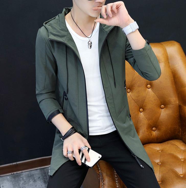 Nouvelle veste de jeunes hommes de l'Europe et les États-Unis Slim dans la section longue du manteau de la mode à manches longues beaux hommes