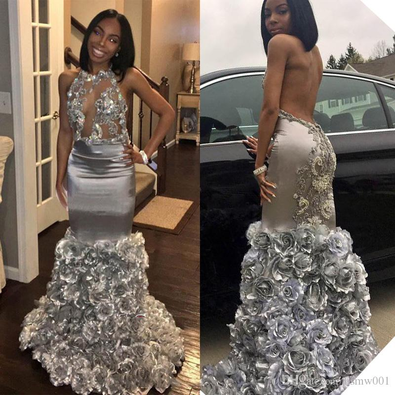 Glamorous Silver Mermaid Evening Dresses Sexy See Through Top Lace Appliques Sleeveless Prom Dresses Rose Flowers Formal Party Gowns