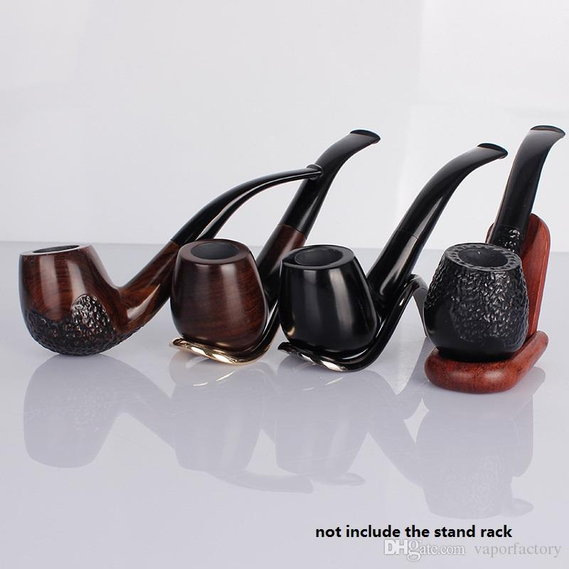 Classic Bent Ebony Wooden Smoking Pipe Handmade Polished Wood Pipes Tobacco Pipe Cigarette holder smoke gift filter mouthpiece