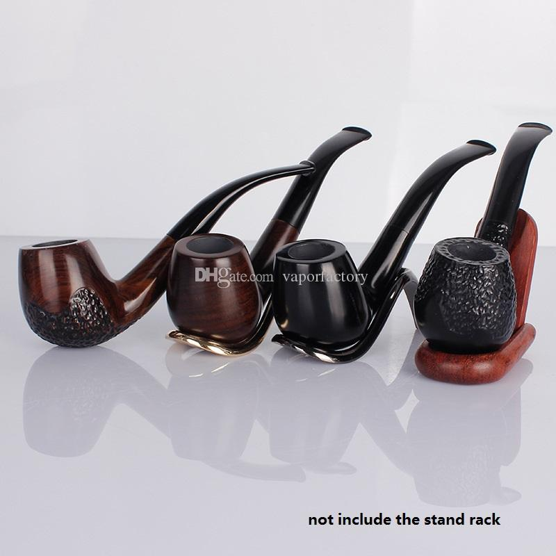 USA Ebony wood Bent Smoking Pipe classic Wooden Tobacco Pipe with filter Mouthpiece cigarette holder cigarette stem smoke gift