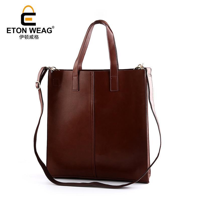 1dd66c851ed8 ETONWEAG Brands Cow Leather Luxury Handbags Women Bags Designer Brown  Vintage Shopping Bag Big Capacity Travel Laptop Tote Bag Leather Goods  Purses For Sale ...