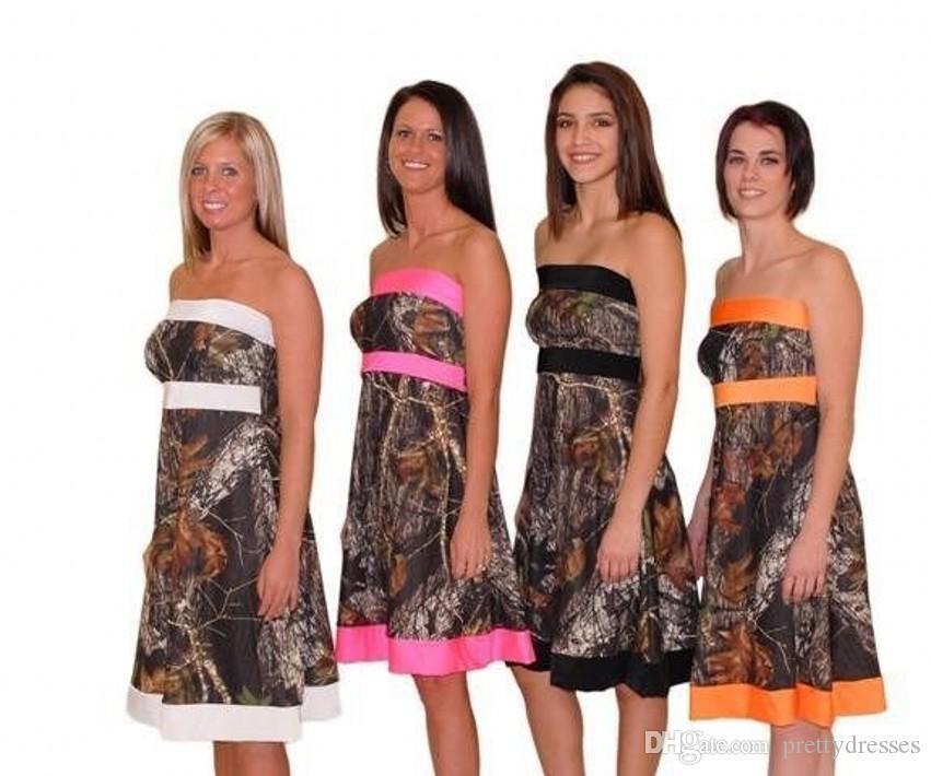 Короткие платья без бретелек Camo A-Line Короткие камуфляжные платья подружек невесты на заказ с завязками на спине Honor Of Maid Spring Платья для подружек невесты