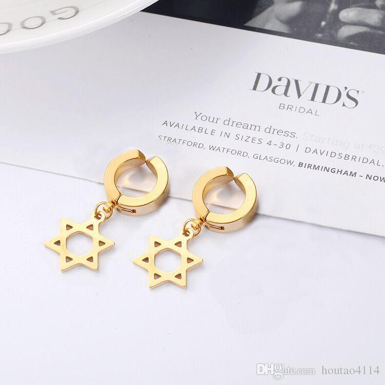 أزياء نجمة الأذن كليب السيدات الرجال الذهب / الفضة / أسود الفولاذ المقاوم للصدأ أقراط مجوهرات اكسسوارات عالية الجودة أقراط الفولاذ المقاوم للصدأ