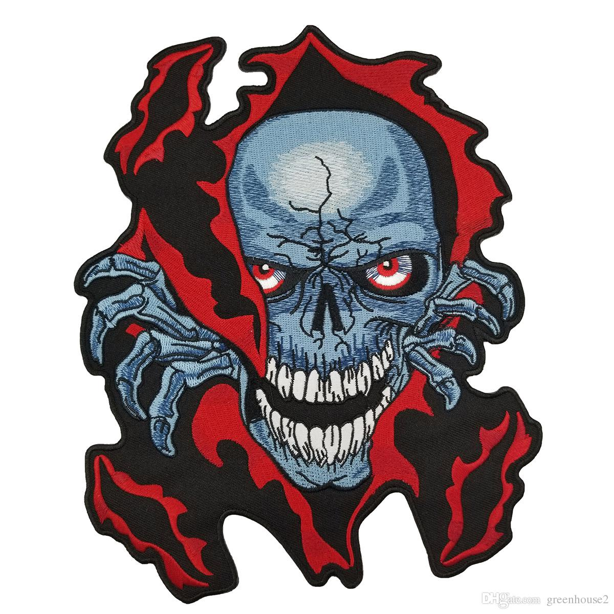 Red Skull Embroidered Patch Iron On Back of Jacket Patch Black Twill Fabric Free Shipping Custom DIY