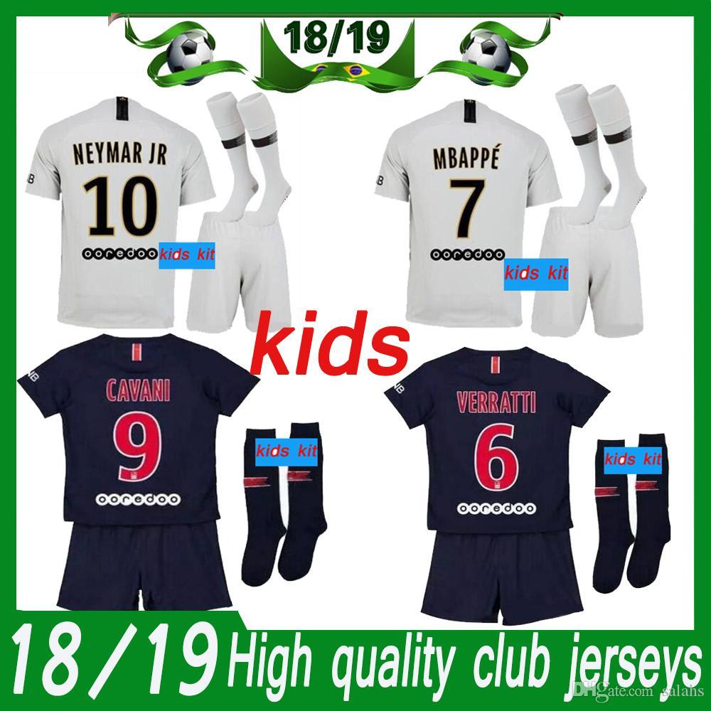 ffa419596b5 Paris Kids Kit 2018 19 psg HOME royalblue kit AND AWAY incanus Soccer  Jerseys MBAPPE RABIOT Children kitS SOCCER JERSEY+PANTS+SOCKS