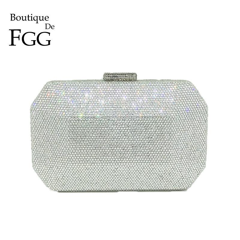 f304aecaae2d Boutique De FGG Sparkling Bling Silver Crystal Evening Bags Women Fashion  Minaudiere Clutch Wedding Diamond Handbag Bridal Purse Satchel Bags  Crossbody ...