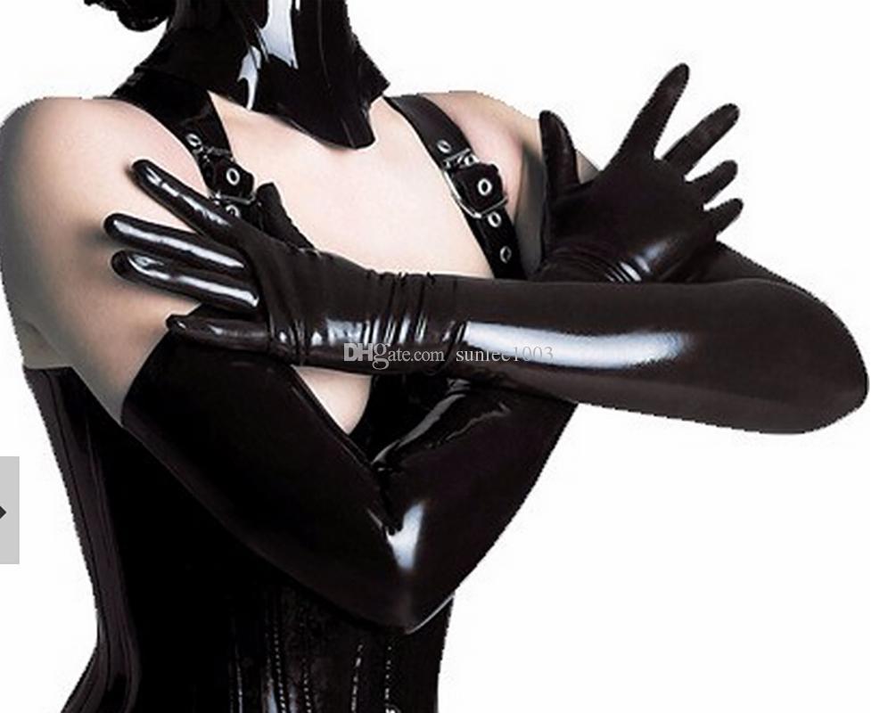2018 새로운 핫 라텍스 고딕 섹시 란제리 롱 남자 장갑 뜨거운 Cekc 강력한 남성 페티쉬 손목 여성 맞춤형