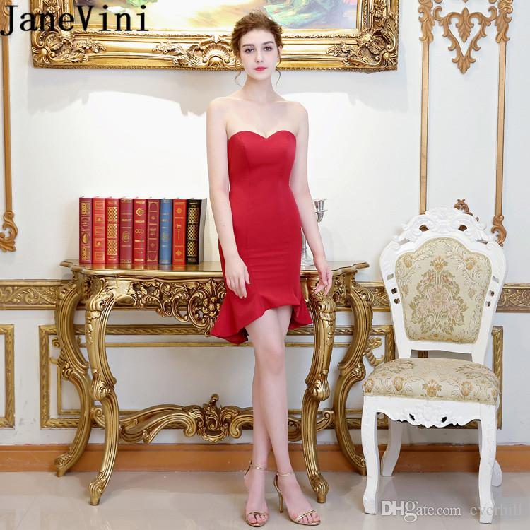 51ebb0329 JaneVini Sexy Short Homecoming Dress Satin Tight Sheath Light Burgundy  Sweetheart Party Prom Gowns 2018 Sleeveless Women Cocktail Dresses Really  Cheap ...