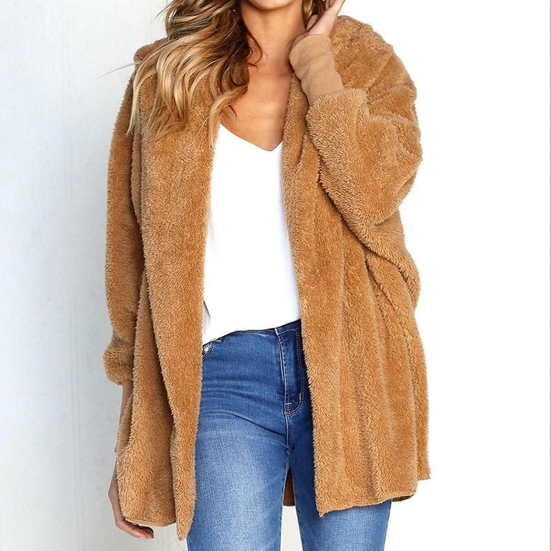 Compre Para Mujer Abrigo De Piel Sólido Con Capucha Teddy Coat Teddy Jacket Invierno  Mujer Abrigo Mujer Faux Fur Chaquetas Mujeres Invierno 2018 Fluffy ... ff2865da00c