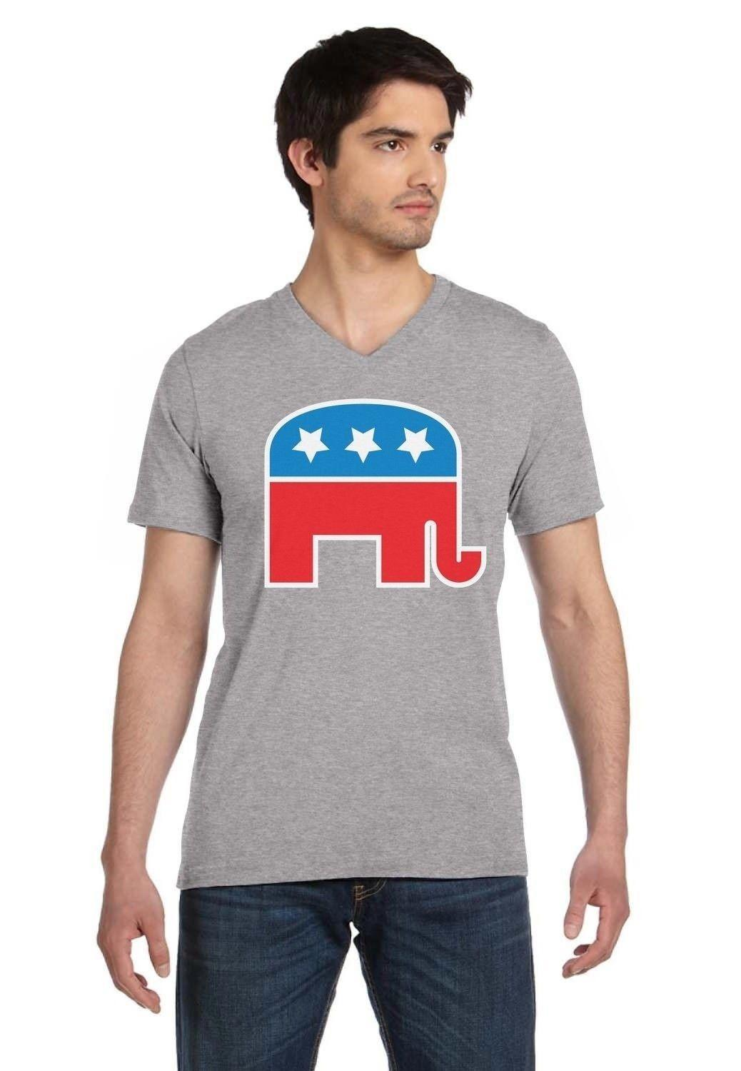 eaf3fcf69b6586 Republican Party Elephant Logo Conservative GOP V Neck T Shirt Vote USA Tee  Shirt A Day Shop T Shirt Online From Yuxin007