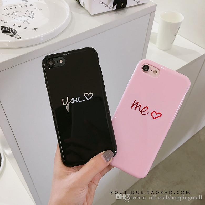 941a3de139 Lovely Heart Painted Phone Case For Iphone 6 6s 7 8 Plus 8 X Case Fashion  Couples Back Soft TPU Cover Cases For Iphone 6 7 8 Case Make Your Own Phone  ...
