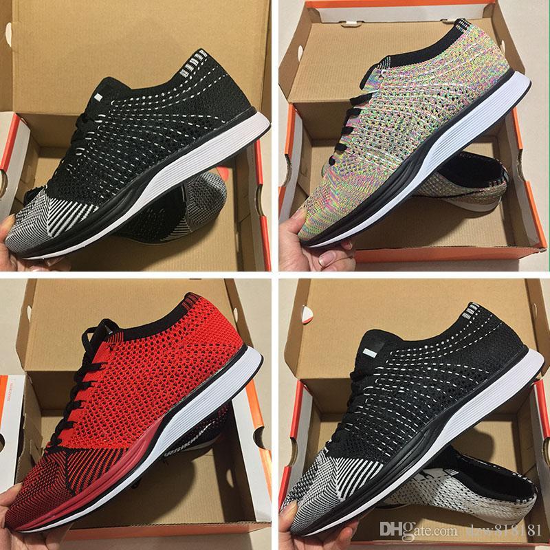 design de qualité 194d9 63320 Nike Flyknit Racer Be True 2018 FK Date Mariah Fly Racer 2 Femmes Hommes  Chaussures de Course Athlétique Noir Blanc Rouge AIR Zoom Racers Sneaker ...