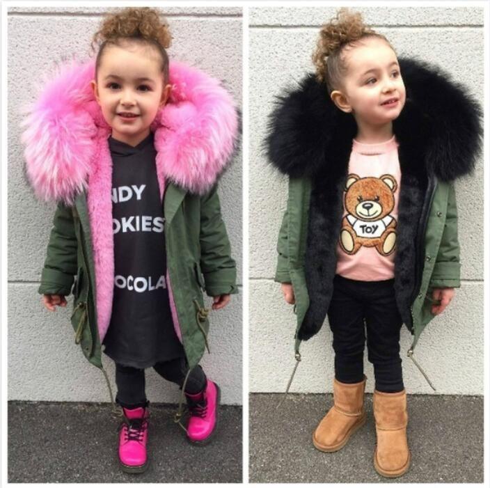 0fc61d2c0 Baby Girls Winter Coat Faux Fur Liner Jackets For Boy Parka ...
