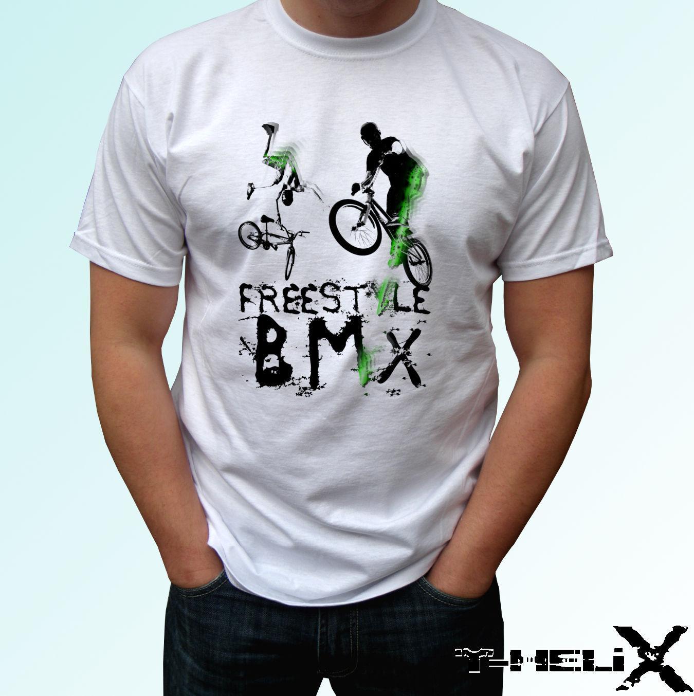 6a971786a Compre Freestyle Bmx Camiseta Blanca Diseño Superior Hombres Mujeres Para  Mujer Tamaños De Bebés Camisetas Con Camisetas Divertidas Nuevas Camisetas  ...