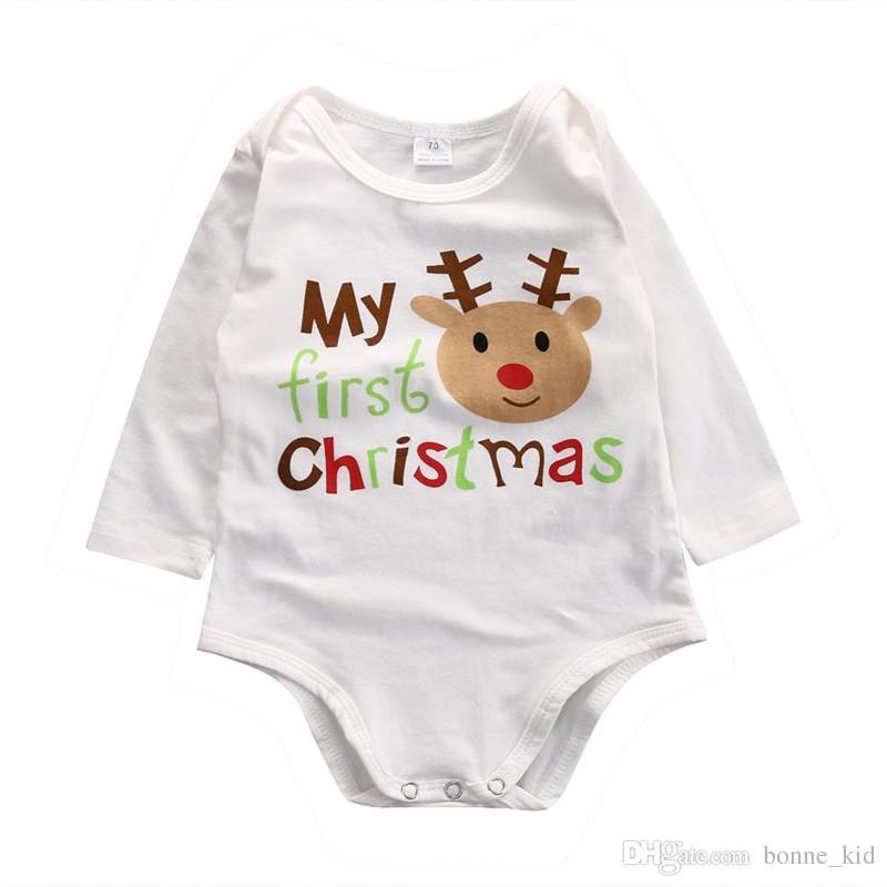 online store ceca3 a836c Mein erstes Weihnachten Baby Baumwolle Strampler Rentier Onesie lange Ärmel  Brief drucken Overall Body süße Neugeborene Baby Mädchen Kleidung