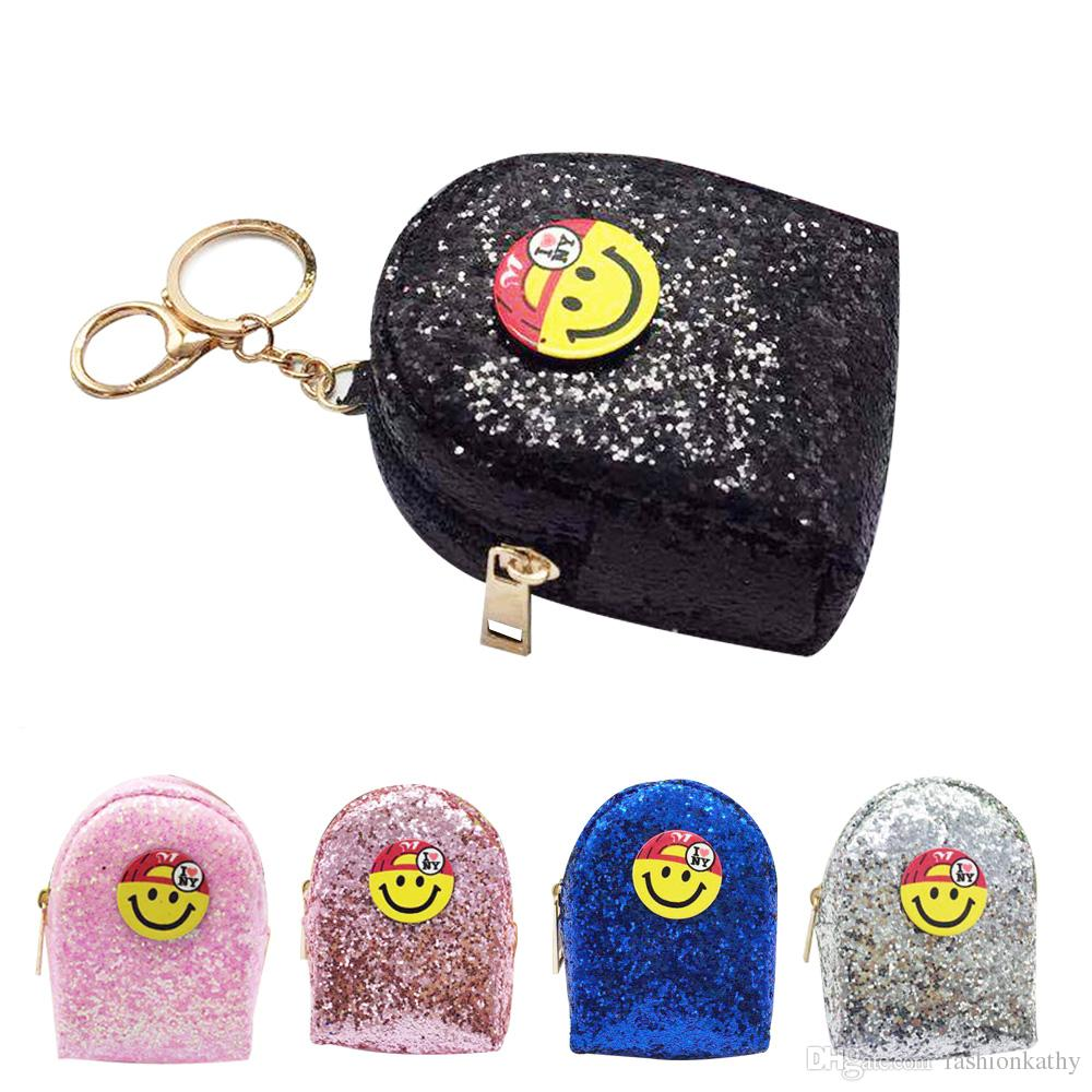 New Fashion Funny Sequin Emoji Pattern Womens Wallets Holders Party ...