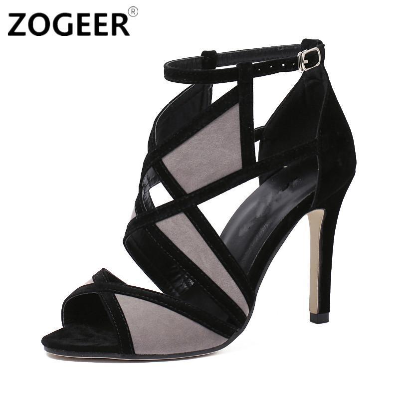 ZOGEER Rome High Heel Fashion Women S Sandals 2017 Summer Women Shoes Sexy  Black Cut Outs Cross Strap Part Pumps Cheap Sandals Summer Sandals From  Goin dfc9d9b982a2