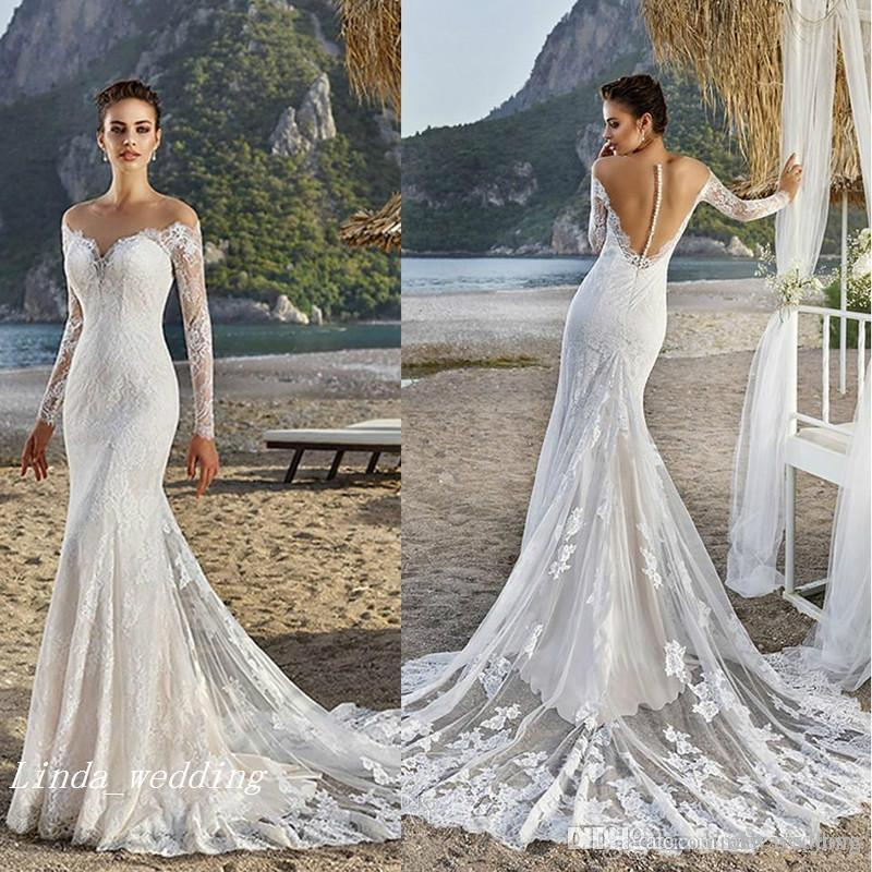2017 Sexy Back Mermaid Wedding Dress Summer Beach Boho Applique Lace Long  Sleeves Bridal Gown Plus Size Custom Made Vestido De Noiva Mermaid Designer  ... e4a53534959f