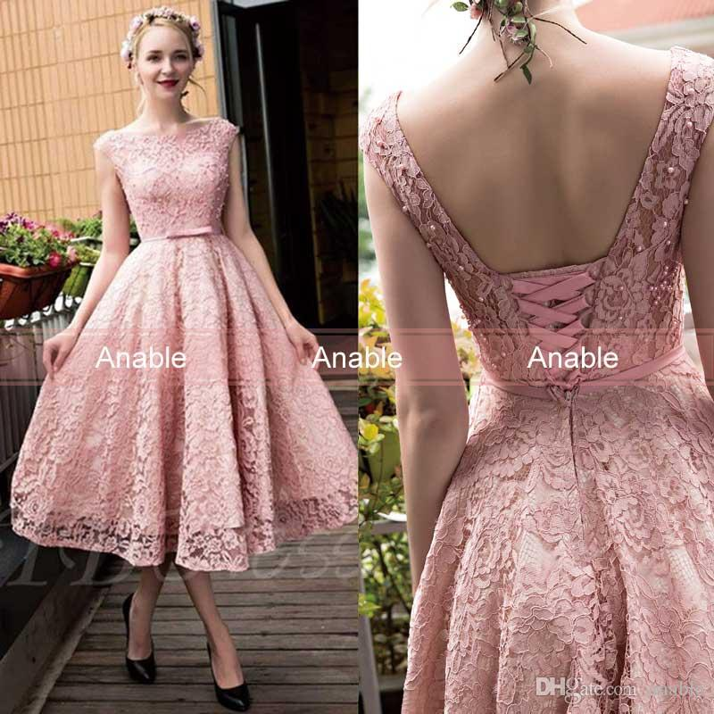 Compre 2017 Nuevo Blush Rosa Elegante Té Longitud De Encaje Completo ...