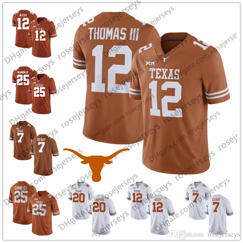 brand new 863c3 2ff8c Texas Longhorns #12 Earl Thomas III Colt McCoy 10 Vince Young 20 Earl  Campbell 34 Ricky Williams Brunt Orange White Retired Football Jersey