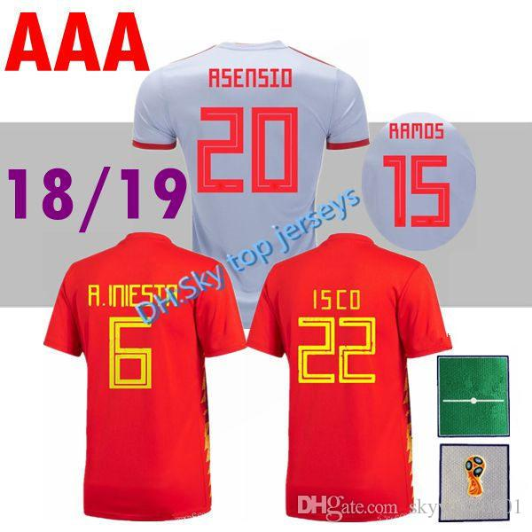 finest selection 566d6 26fd4 2018 World Cup Spain national team home AWAY Soccer jersey 18 19 MORATA  A.iniesta Ramos Pedro Silva ISCO Football Shirts