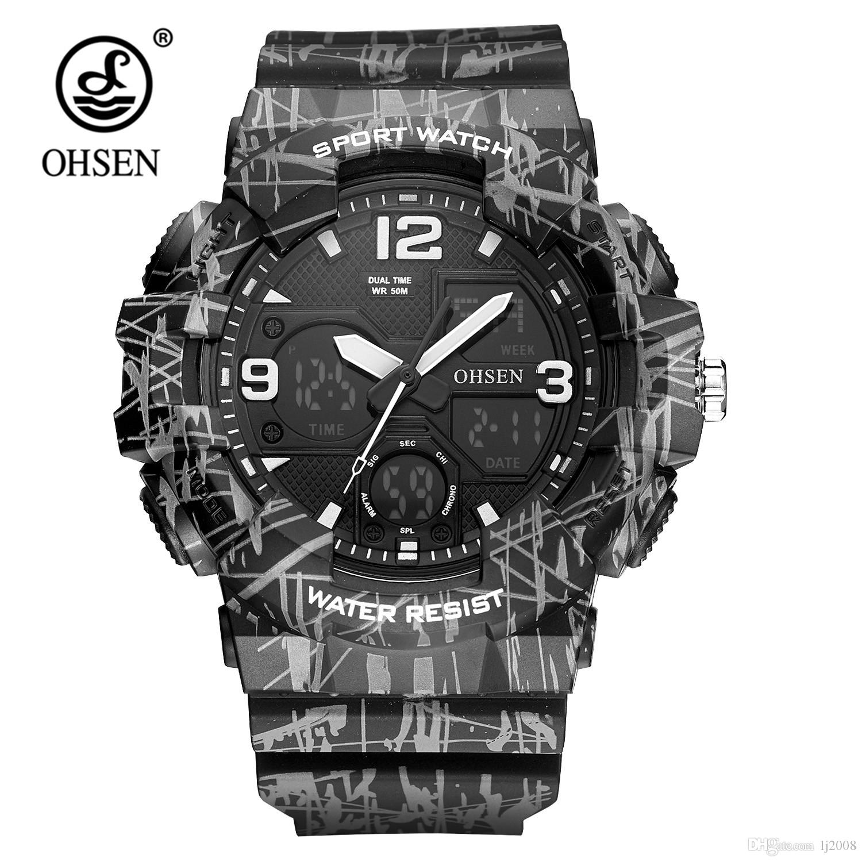 641c780af1e Fashion OHSEN Quartz Digital Watch Men Analog 50m Waterproof Sport Watch  Relogio Rubber Band LED Army Wristwatches Orologio Uomo Buy A Watch Online  Watches ...
