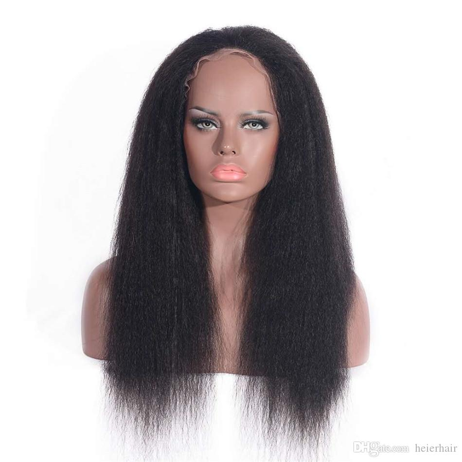 Indian Human Hair Lace Front Kinky Straight Wig Glueless Full Lace Wig with Bleached Knots for Black Women