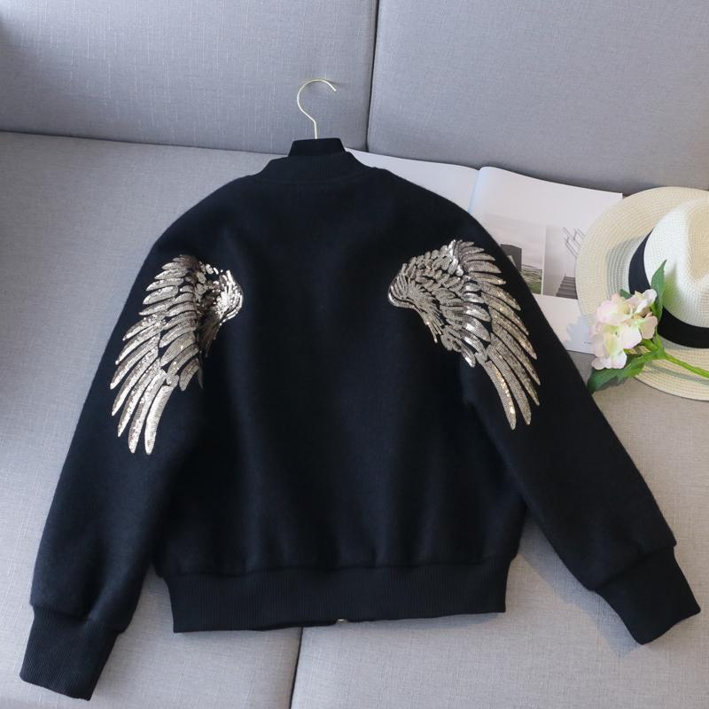 [QLZW] 2018 New Autumn Fashion Long Batwing Sleeve Round Collar Split Joint Pocket Embroidery Wings Casual Coat Woman BL862